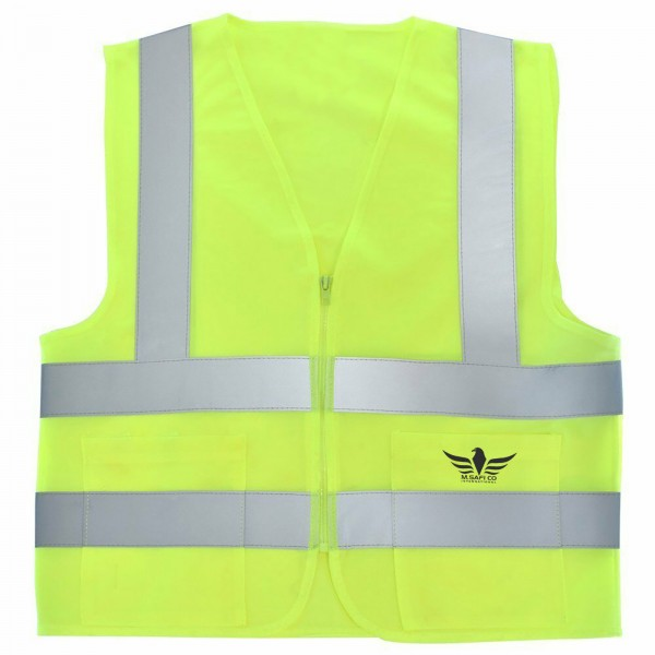 2 Pockets Neon Yellow Safety Vest