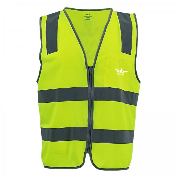 Hi Vis Safety Zip Vest W Reflective Tape Pocket Yellow